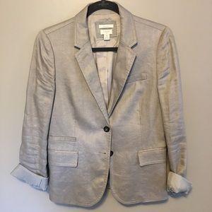 JCrew khaki blazer with rolled-cuff detailing